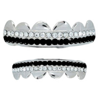 Silver Plated 2 Row Black Silver Plated Grillz Set