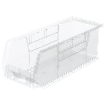 Akro-Mils 30224 AkroBins Plastic Storage Bin Hanging Stacking Containers, (11-Inch x 4-Inch x 4-Inch), Clear, (12-Pack), Semi-Clear