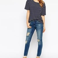 WAVEN Low Rise Skinny Jeans With Ripped Knee's Distressing