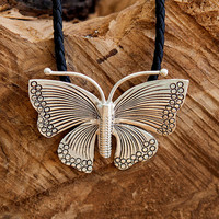 Silver Butterfly Pendant -Silver Butterfly Necklace - Silver Jewelry - Silver Necklace - Bitterfly Jewelry - Nature Jewelry - Tribal Jewelry