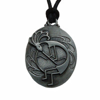 Pewter Pendant Necklace with Adjustable Cord - Kokopelli