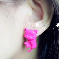 Smile faces cat kitty earrings from Sweetbox Store