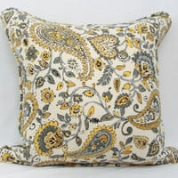 Yellow and gray paisley throw pillow cover with optional self welt. 20 x 20 pillow cover. toss pillow