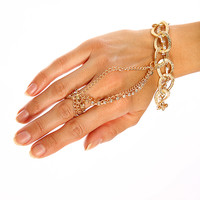 Gold Thick Chain Link Rhinestone Row Accent Ring Design Hand Chain