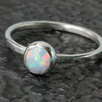 Opal ring, sterling silver, stacking ring, stackable, handmade, bridal, bridesmaids gift, promise ring, October birthday, white opal