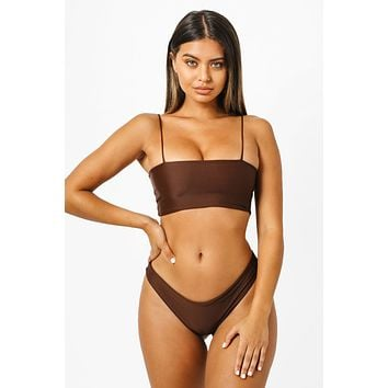 Brigitte Bandeau Bikini Top - Chocolate Brown