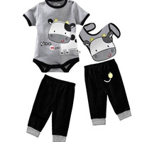 Your Choice of Themed 3 Piece Romper/Onesuit, Pants and Bib Sets for Baby