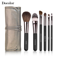 Free shipping Docolor Make up Brushes  6pcs/Set High Quality with leather case  powder foundation eyeshadow eyebrow  lip brushes