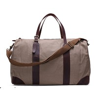 Waxed Canvas with Leather Trim Travel Duffle Weekender Bag | Light Grey