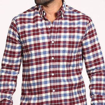 White, Burgundy & Pale Blue Brushed Flannel Plaid Shirt - 'Marsden' One Piece Size XXL Available