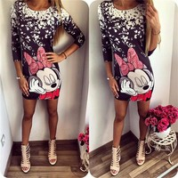 2017Hot Sale Mickey Mous Women Dresses Letter printing Casual Minnie Half Sleeve dress miki Package Hip Charming Dress