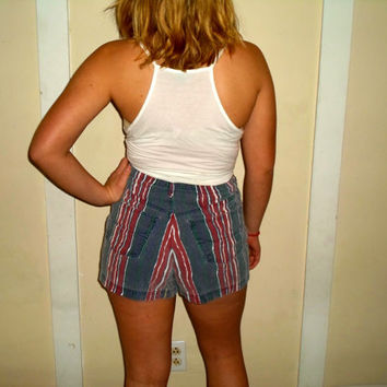 90s Colorful Striped High Waisted Denim Short Shorts (red white and blue)