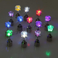 Hot Sale 1Pair Charm LED Light Up Crown Glowing Crystal Stainless Stud Ear Earring Party Accessories Blinking FreeShipping