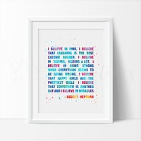 Audrey Hepburn Quote Watercolor Art Print