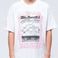 Stussy Summer Classic Graffiti Letter King Cruise Pattern Print Short Sleeve Round Collar Lovers T-Shirt Top(2-Color) I12521-1
