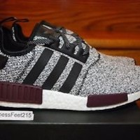 ADIDAS NMD R1 REFLECTIVE 3M B39506 White Burgundy Black Grey Men & GS SZ: 4y-13