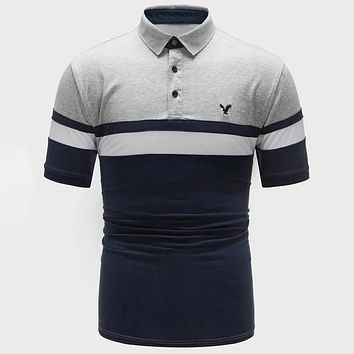 Fashion Casual Men Contrast Panel Embroidered Polo Shirt