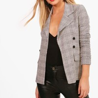 Petite Katie Check Button Sleeve Blazer | Boohoo