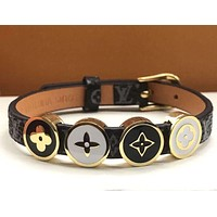 Louis Vuitton classic old flower four-leaf clover four-bead leather cord bracelet men and women bracelet