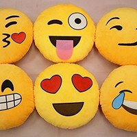 Yong8 Soft Emoji Smiley Emoticon Yellow Round Cushion Pillow Stuffed Plush Toy Doll (STYLE 1)