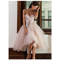 Short Informal Strapless Wedding Dress