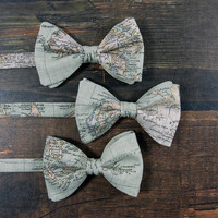 Bow Tie for Men by BartekDesign: pre tied dusty green map traveler globetrotter gift for him