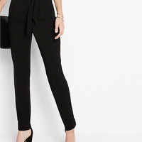High Waisted Sash Waist Straight Leg Pants