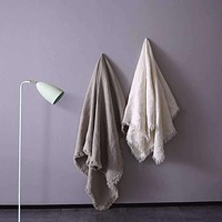 French Linen Threaded & Fringed Throw Blanket Ivory & Flax Available in 2 Colors