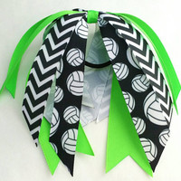Custom volleyball bow, volleyball team bows, ponytail ribbon streamer bow, neon green hair streamer, green volleyball hair bow