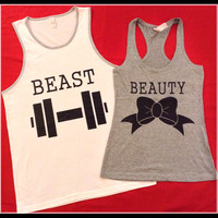 Free US Shipping Fast Processing Super CUTE Beauty AND Beast Couples Tanks or tshirts Perfect For any Loving Couple