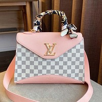 Louis Vuitton LV New Women's Printed Letter Splicing Color with Scarf Handbag Crossbody Bag