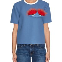 Fox-fur and leather monster-eyes cotton-crepe top | Fendi | MATCHESFASHION.COM US