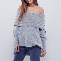 Off Shoulder High Low Knitted Pullover Sweater
