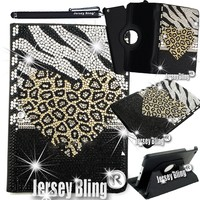 iPad Air Jersey Bling® Crystal & Rhinestone Rotating Faux Leather Case with Built In Stand & FREE Stylus (Leopard Heart)