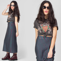 90s Striped Knit Maxi Skirt / Vertical Stripes Colorful Long Skirt / Grunge Rocker Hippie Boho Large L Maxi Skirt