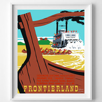 Vintage Disneyland, Poster, Print, River Pirate Keel Boats, Mark Twain, Disney, Frontierland, Reproduction, Restored, Restoration [No 1275]
