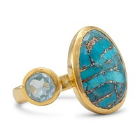 14k Yellow Gold Plated Sterling Silver Blue Topaz and Turquoise Ring