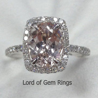 Reserved for thadyhiggins Oval Morganite Engagement Ring Cushion Diamonds Halo 14K White Gold 7x9mm