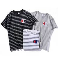 Champion Woman Fashion Edgy Embroidery Sport Stripe Shirt Top Tee