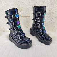 Emily Rave 330 Goth Black Patent Hologram Ankle Boots Heart Plate Combat Boots