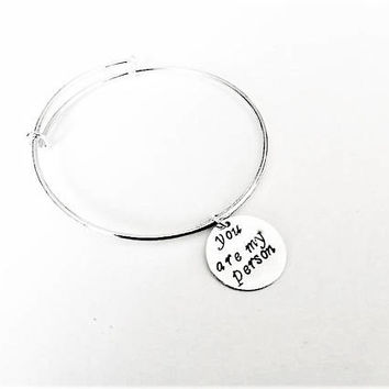 You are my person bangle bracelet, you're my person jewelry BFF jewelry gift, Best Friend Bangle Bracelet, Anniversary Gift, friendship gift