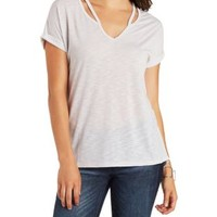Slouchy Caged V-Neck Tee by Charlotte Russe