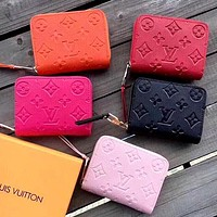 Louis Vuitton LV Embossed Letters Women's Mini Short Wallet Card Holder