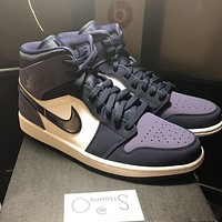 Nike Air Jordan 1 Mid Fashion Women Men Casual Sport Running Shoes Sneakers Black&White&Purple