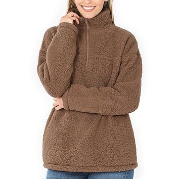 Casual Half Zip Up Sherpa Fleece Pullover Sweater Jacket with Pockets