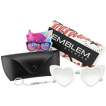 Oversize Cat Eye Heart Shape Mirrored Lens Sunglasses w/ CASE