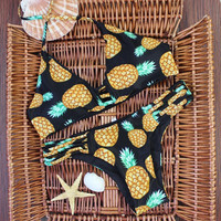 Sexy fruits pineapple print bikini womens swimsuit