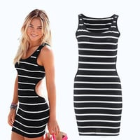 Stripes Printed Sexy Slim Backless Package Hip One Piece Dress a12225