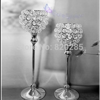 metal silver plated candle holder with crystals. wedding candelabra/centerpiece decoration,1 set=2 pcs candlestick@MWB