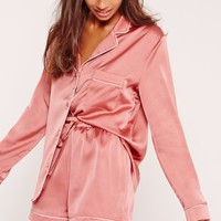 Missguided - Piping Detail Short Pyjama Set Pink